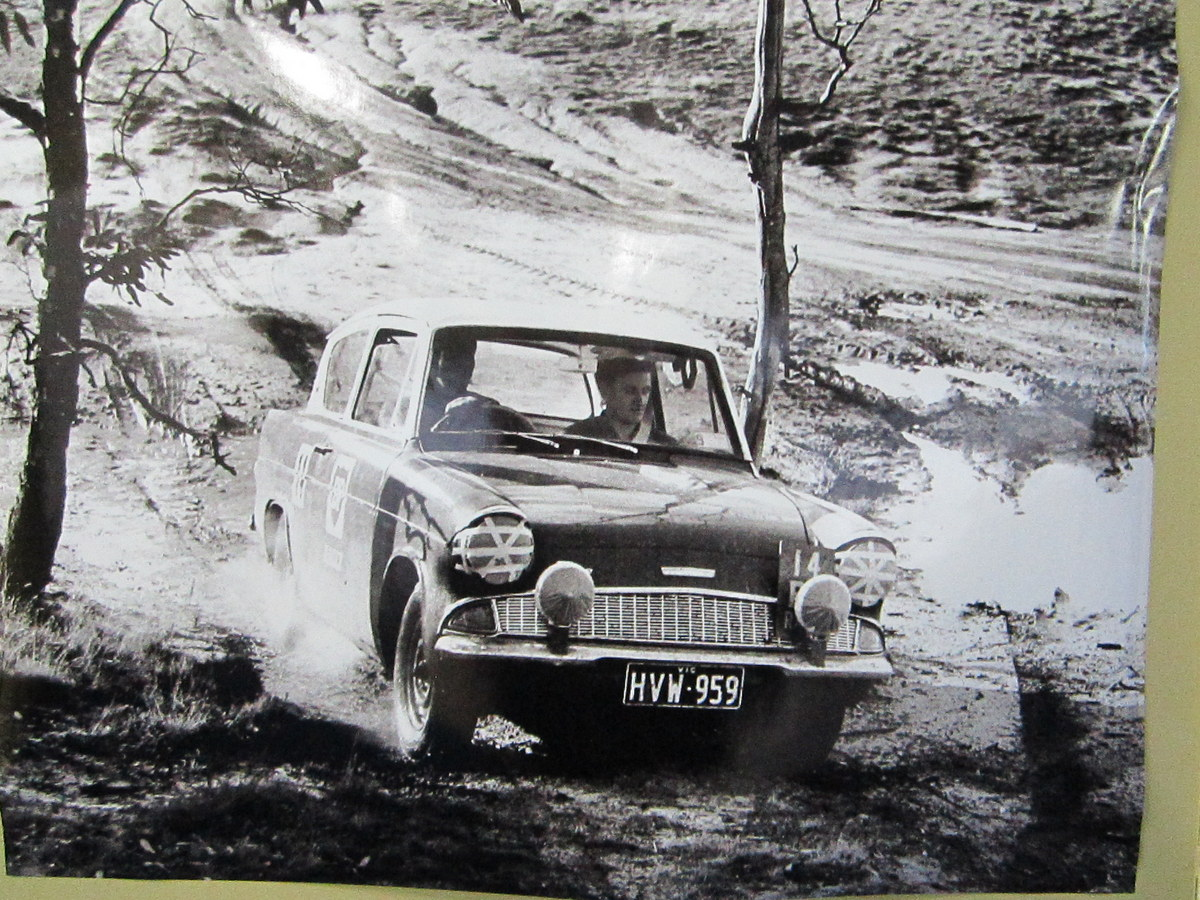 A Ford Anglia pictured in an early BP Rally