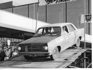 1966 BP Rally. Car on the start ramp.