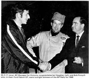 1969 BP Rally, winners Ian Vaughan and Bob Forsyth being congratulated by the BP Manager.