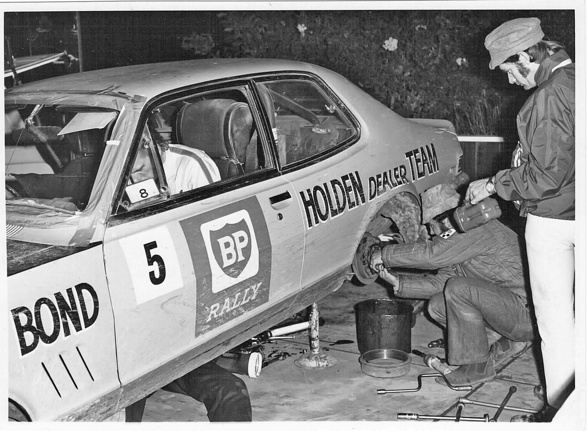 Colin Bond and Brian Hope's car undergoing repairs