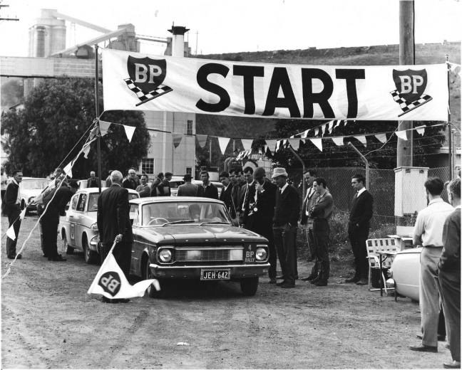 Ken Harper on the start line, 1965 BP Rally