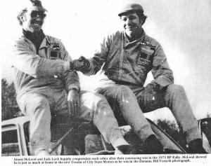 1971 BP Rally winners Stewart McLeod and Jack Lock sitting on the roof of their car.