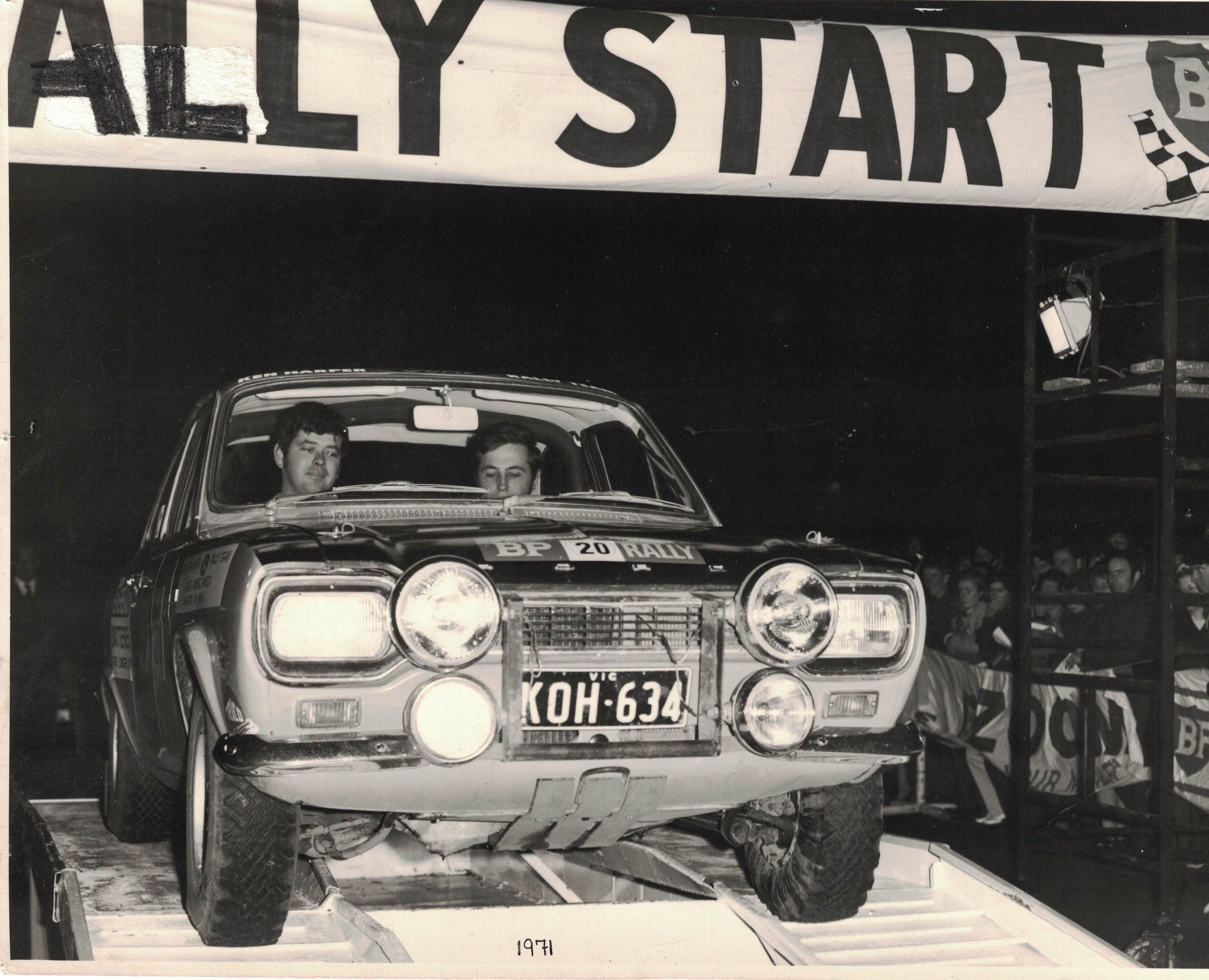 Robbie Dawson and Ian Swan, car 20 on the start ramp 1971 BP Rally.