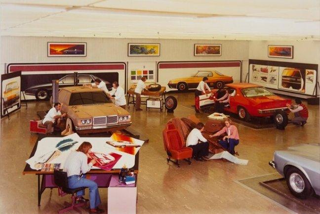 The main Holden styling studio showing stages in design, c.1975